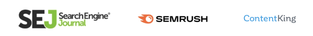 Logos of search engine journal semrush and contentking