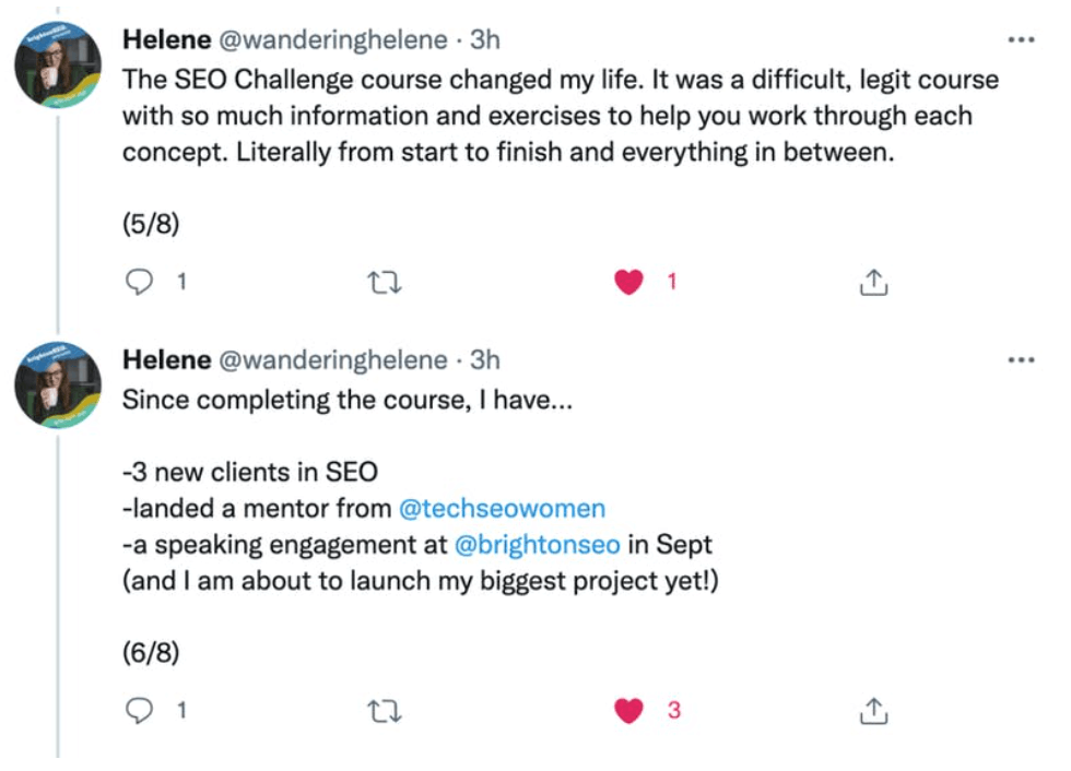 Tweets by Helene Jelenc about the SEO Challenge